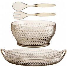 Lux aukso spalvos salotų indas, įrankiai ir padėklas